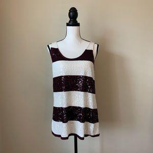 Ann Taylor Sleeveless Sequin Shirt L 🌤